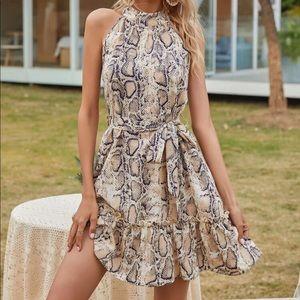 Snakeskin print halter belted dress